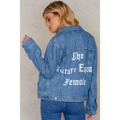 NA-KD The Future Equals Female Denim Jacket ($95) ❤ liked on Polyvore featuring outerwear, jackets, medium wash, long sleeve jean jacket, long sleeve denim jacket, long sleeve jacket, blue jean jacket and pattern jacket