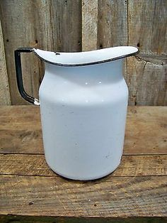 Antique Enamelware / Graniteware Milk or Water Pitcher Old Vintage Farm Primitve