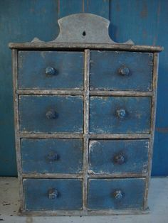 16.5in tall x 10.5in wide x 5.5in deep. Blue Painted Spice Cabinet Chest Apothecary  AAFA