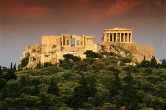 At the center of the Acropolis stands the temple of the Parthenon.