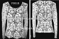 2012 bordado crochet chaleco blusa de manga larga-Cordón ...