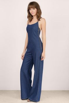 Layla Crossback Denim Jumpsuit