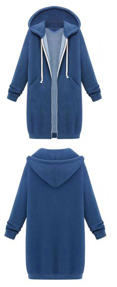 Simple, casual and sophisticated. Pair this blue hoodie with your favorite dark denim or leggings!
