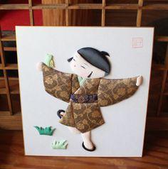 Japanese Handmade Oshie Fabric Picture Small Boy 27 x 24cm | eBay