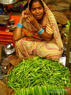 Finger Okra at the Market in Udaipur, India http://en.wikipedia.org/wiki/Okra