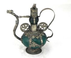 Old tibet silver green jade carved dragon butterfly collectable lucky teapot | the Teapots Collectionary