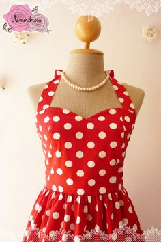 Pink Party Dress Polka Dot Dress Vintage Inspired by Amordress, $45.00