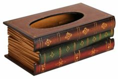 Claybox Elegant Hand Crafted Wooden Scholar's Antique Book Tissue Box Dispenser - Tissue Holders