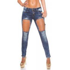 Sexy koucla skinny dames jeans met steentjes en gaten