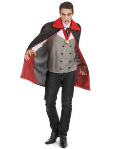 Déguisement vampire homme Halloween : Ce déguisement de vampire pour homme est composé d'un haut gris et blanc, d'un médaillon et d'une cape rouge et noire, munie d'une collerette rouge, qui... Halloween Vampire, Costume, Jackets, Products, Fashion, Mantle, World, Red Shoes, Pants