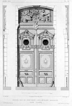 Elevation of a front door of a residential building on Rue du Pont Neuf, Paris