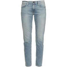Frame Denim Le Garcon mid-rise boyfriend jeans ($317) ❤ liked on Polyvore featuring jeans, light blue, mid rise boyfriend jeans, faded jeans, mid-rise jeans, straight leg jeans and faded blue jeans