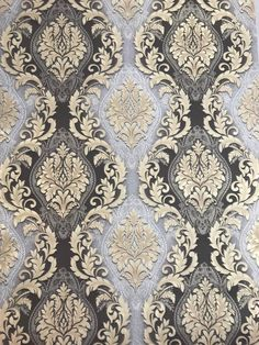 Paper Wallpaper gray black beige gold metallic textured Vintage damask in 2019 Victorian Wallpaper, Damask Wallpaper, Paper Wallpaper, Wallpaper Roll, Designer Wallpaper, Wallpaper Backgrounds, Black Wallpaper, Textile Patterns, Textile Design