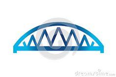 Blue Curved Bridge Logo
