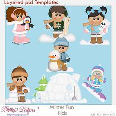 Winter Snow Fun Kids Layered Element Templates , cudigitals.com, cu, commercial, scrap, scrapbook, digital, graphics, clipart,