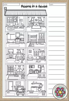 Rooms in a house - 2 Worksheets (2fach differenziert) – Unterrichtsmaterial im Fach Englisch