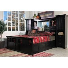 San Mateo Black Tall Wall Cal King Bed With Pedestal   Mor Furniture