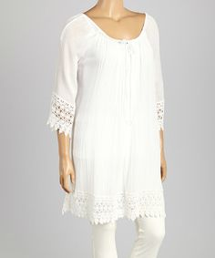 Love this White Pleated Tunic - Plus on #zulily! #zulilyfinds