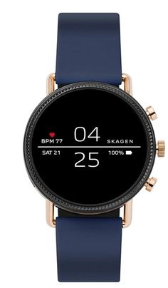 Skagen Connected Falster 2 Stainless Steel and Silicone Touchscreen Smartwatch, Color: Rose Gold, Navy (Model: Smartwatch, Armani Watches, Luxury Watches, High End Watches, Watches For Men, Simple Watches, Telephone Iphone, Smartphone, Swiss Army Watches