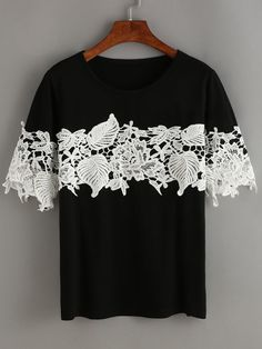 Shop Black Contrast Lace T-Shirt online. SheIn offers Black Contrast Lace T-Shirt & more to fit your fashionable needs. Shop Black Contrast Lace T-Shirt online. SheIn offers Black Contrast Lace T-Shirt & more to fit your fashionable needs. Diy Clothing, Sewing Clothes, Tee Shirt Dentelle, Lace T Shirt, Diy Vetement, Creation Couture, Altering Clothes, Lace Making, Mode Inspiration