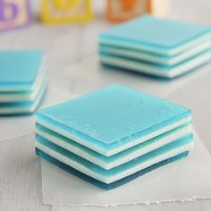 Baby Blue Layered Jello - perfect for a baby shower!
