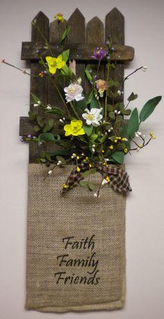 Lath Fence Floral Arrangement Burlap Bag by PearcesCraftShop, $28.95