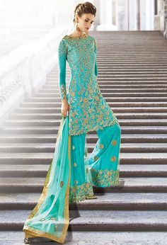 Turquoise Georgette Designer Palazzo Pant Suit with Dupatta…