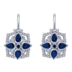 14k white gold sapphire and diamond vintage style leverback earrings