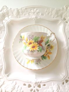 Vintage Queen's Rosina English Fine Bone China Teacup and Saucer Duo