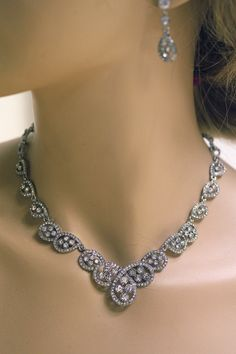 Bridal Necklace Earrings set  Rhinestones Crystals by simplychic93