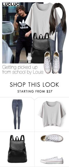 """""""Getting picked up from school by Louis"""" by style-with-one-direction ❤ liked on Polyvore featuring Topshop, Converse, Marc by Marc Jacobs, women's clothing, women's fashion, women, female, woman, misses and juniors"""