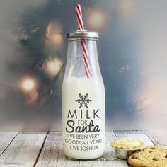 A lovely way for your child to leave milk for santa on Christmas eve, this glass bottle has the words 'Milk for santa' on the front and will be personalised wit Toddler Christmas Gifts, Christmas Crafts, Christmas Ideas, Christmas Decoupage, Christmas Vinyl, Xmas, Christmas Patterns, Christmas Things, Christmas Inspiration