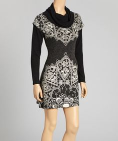 Take a look at this Black & White Lace Print Layered Dress by Aryeh on #zulily today!