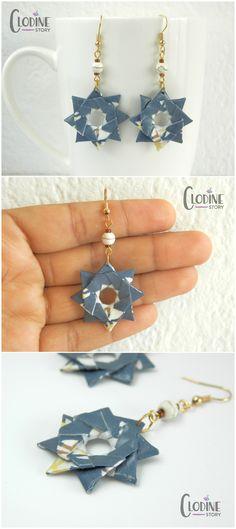 Boucles d'oreilles étoile origami, Bijoux en origami, Bijoux en papier, Papier washi, Fait main, Pendants origami, Pliage, bijoux étoiles, étoile