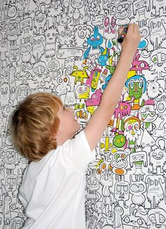 Removable, color-able wallpaper?! How fun would this be for a kid's room? Go…