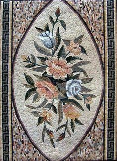"""38x52"""" Flower Marble Mosaic Floor Wall Table Decor by mozaico. $622.00. Mosaics have endless uses and infinite possibilities! They can be used indoors or outdoors, be part of your kitchen, decorate your bathroom and the bottom of your pools, cover walls and ceilings, or serve as frames for mirrors and paintings."""