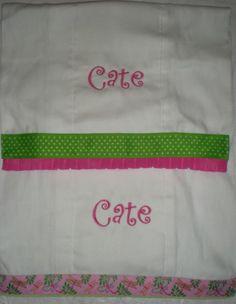 Monogrammed & Trimmed Burp Cloths - set of 2 by FleurDeLisEmbroidery on Etsy https://www.etsy.com/listing/197215824/monogrammed-trimmed-burp-cloths-set-of-2