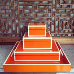 Orange and white lacquer box and tray