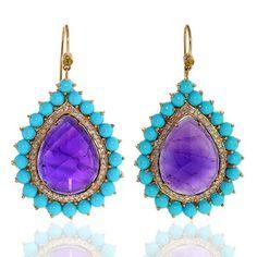 Natural 40 5 Ct Gemstone Diamond Pave 18 K Gold Designer Dangle Earrings Jewelry | eBay