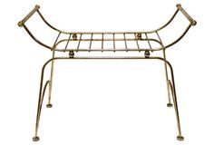 Midcentury Solid Brass Bench
