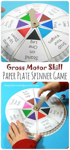 Free Printable Template for this Spin, Roll & Count Gross Motor Skill Game - paper plate spinner game for toddlers and preschoolers - arts, crafts & activities for kids