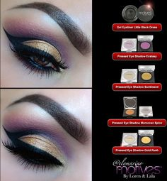 Get the Look!  Little Black Dress gel eyeliner, pressed eye shadows in Ecstasy, Sunkissed, Moroccan Spice and Gold Rush!