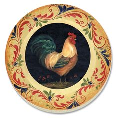 Rooster Painting, Rooster Art, Tole Painting, Painting & Drawing, Chicken Art, Painted Plates, Galo, Primitive Folk Art, Picture Collection