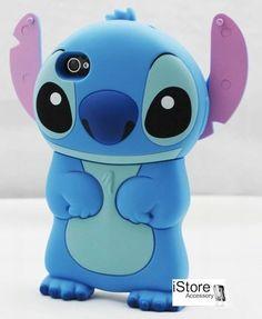 Cover LILO & STITCH azzurra rosa!!Lillo Stich amore 3d case,custodia iPhone 4/4S