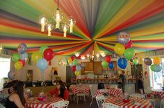 My daughter wanted a circus theme for a baby shower.  - this is tulle on the ceiling - that would be cool!