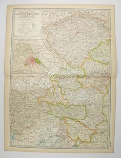 Vintage Austria Hungary Map 1899 Antique Map of Austria, Europe Travel Map, Art Gift under 30, Unique Guy Gift Man Cave Decor Map of Hungary available from OldMapsandPrints.Etsy.com #AustriaAndHungary #AustriaMap #HungaryMap #1899CenturyMap