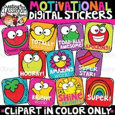 Motivational Digital Stickers Clipart (DISTANCE LEARNING) Just added these fun digital stickers to my TpT Shop! These stickers are sure to add some fun to your students online work and make grading so much more fun! Hope you enjoy! Click on the pic to view these in my TpT Shop! *New sticker sets are now available to add to your collection. Stickers also available in Spanish and French.