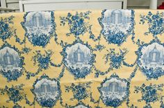 Yellow/Blue Toile Fabric - like for curtains or roman shades