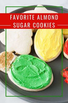 My favorite almond sugar cookies are easy, roll out, cut out sugar cookies! They are delicious with frosting, decorated with icing or topped with sprinkles! Icing Recipes, Cookie Recipes, Dessert Recipes, Fancy Desserts, Delicious Desserts, Soft Almond Cookies, Roll Out Sugar Cookies, Homemade Cookies, Winter Recipes