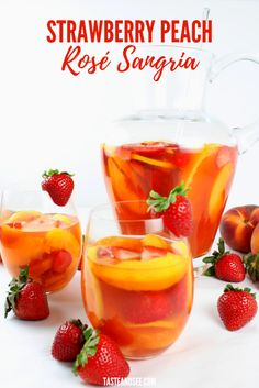 This picture perfect Strawberry Peach Rose Sangria is full of fresh strawberries & peaches, strawberry liqueur, peach nectar, vodka & Rosé wine. All of our faves in one glass! Strawberry Peach Sangria Recipe, Fruity Sangria Recipe, Peach Sangria Recipes, Rose Sangria, Apple Cider Sangria, White Wine Sangria, Peach Vodka Drinks, Drink Recipes, Gastronomia